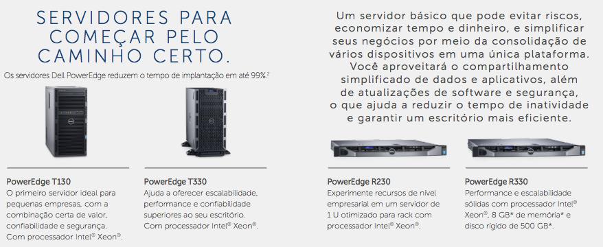 Servidores PowerEdge T130, PowerEdge T330, PowerEdge R230 e PowerEdge R330