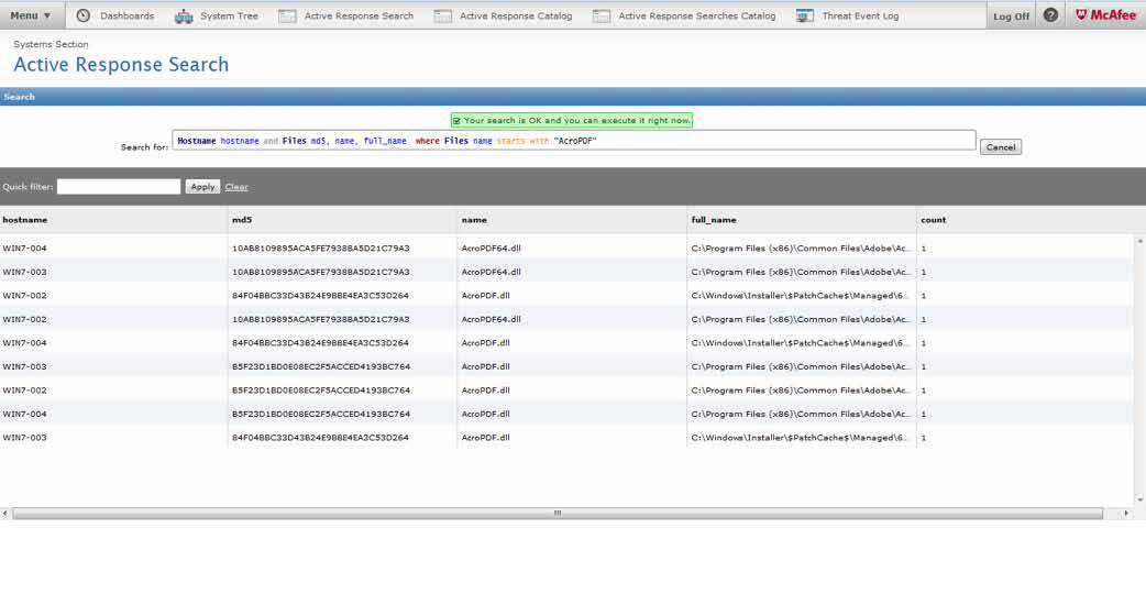 Interface de usuário para pesquisa do McAfee Active Response